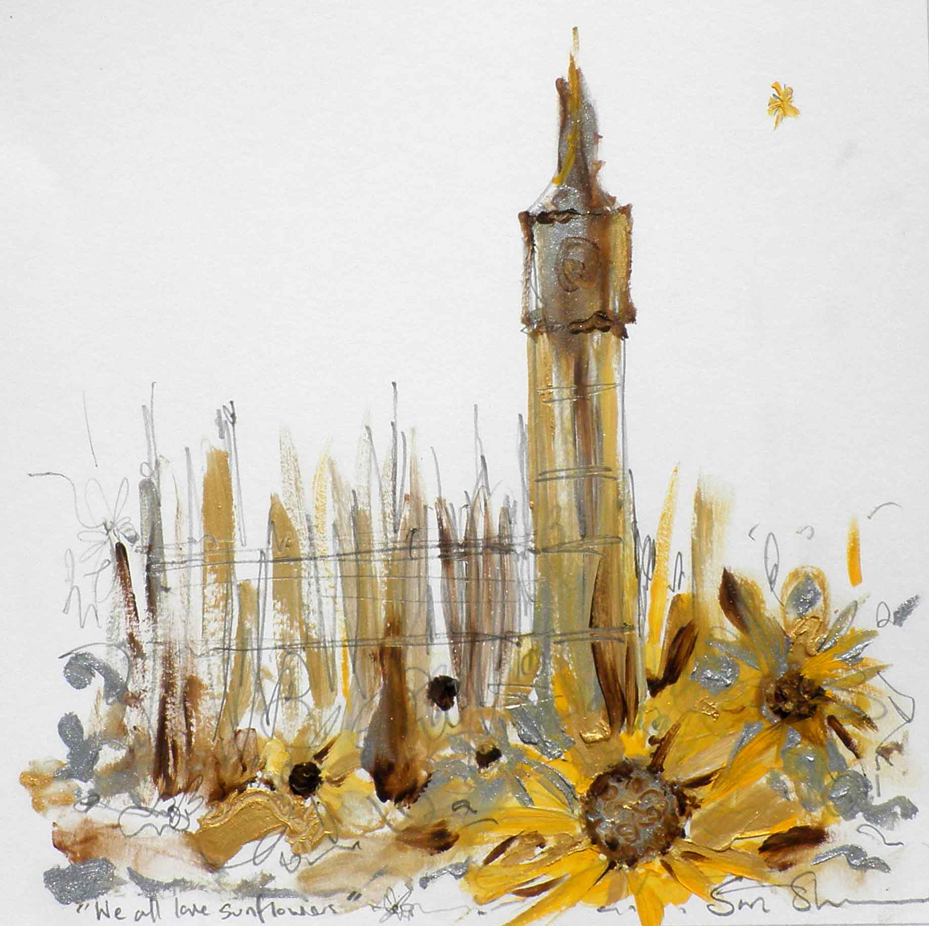 We all love Sunflowers, abstract mixed media painting on paper by Sara Sherwood