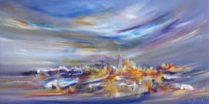 """""""Touched by Rainbows"""", New York Cityscape by Sara Sherwood, oil on canvas"""