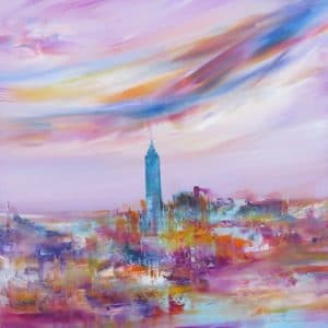 Touching your heart Cityscape by Sara Sherwood - Contemporary Abstract Artist London