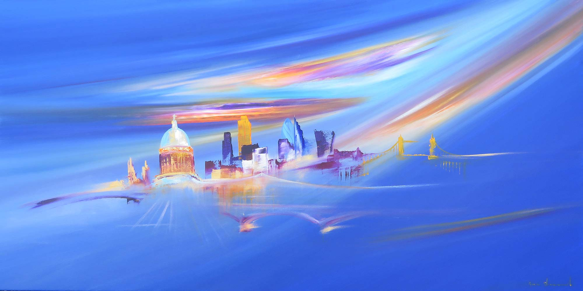 Painting London Bridges by Sara Sherwood - Contemporary Abstract Cityscape Artist London