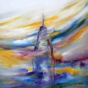 Light party New Yourk Skyline by Sara Sherwood - Contemporary Abstract Artist London