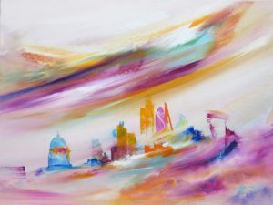 Cityscape Painting of London by Sara Sherwood Contemporary Abstract Artist Safe-in-your-arms
