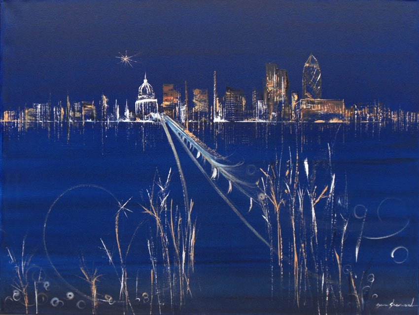 Fairytale Journey Cityscape Painting of London by Sara Sherwood Contemporary Abstract Cityscape Artist Gallery